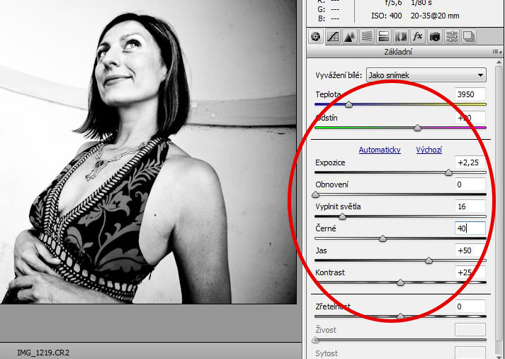 Simple controls of adobe camera raw allow us to make great black and white pictures within